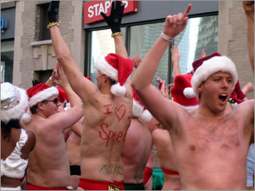 Boylston Street was alive with some scantily clad Santas on Saturday. This year's annual Santa Speedo Run began at the bar Lir in the Back Bay, where participants stripped down to their Speedos and other bathing suits for the chance to raise some money for charity. Check out photos from last year's run