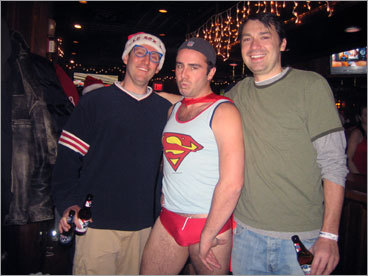 Superman even came for the run. Michael Saverse of Somerville has been running for five years. He said he tries to change his holiday attire every year. He is joined by Chris Jones of Roslindale (left) and David Hallowes of Manhattan (right). Check out photos from last year's run