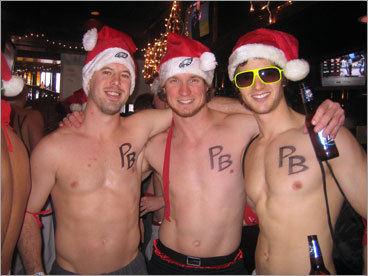 The Philly Boys were out in full force at the Santa Speedo Run. From left: Jim Guthlein, Dan Miller, and Matt Gorman brought along some friends to participate in the event. Check out photos from last year's run