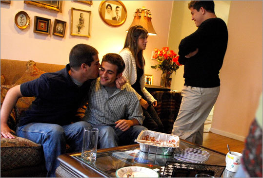 The Morris quadruplets are now 20. From left: Paul, Jesse, Sabrina, and Tyler in their Weston, Conn., home.