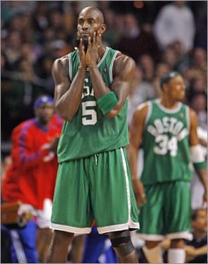 Kevin Garnett and the Celtics began this daunting stretch with a tough loss to the Pistons at the Garden (it was the Green's first home defeat of the season). Chauncey Billups scored a game-high 28 points and nailed two free throws with 0.1 seconds left to seal the game for the Pistons.
