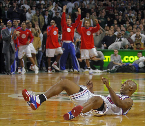 The Boston Celtics' Tony Allen fouled Chauncey Billups (on floor) of the Detroit Pistons with less than a second left in the game, sending Billups to the foul line where he made two game-winning free throws for Detroit. The loss was just the third of the season for the Celtics and was their first defeat at home this season.