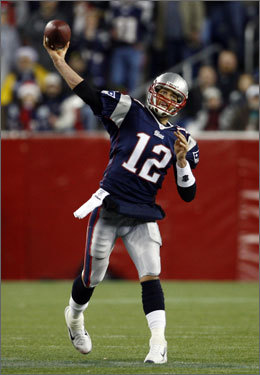 Tom Brady threw another touchdown pass in the first half, this one to Jabar Gaffney.