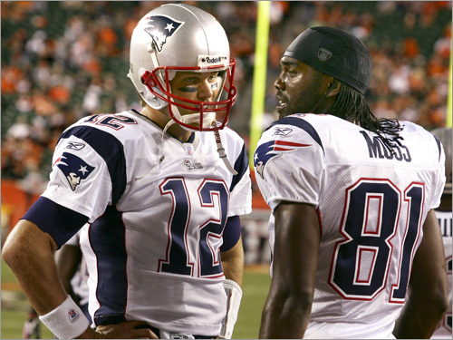 Tom Brady and Randy Moss have paired up for a record 23 passing touchdowns. The previous NFL record for touchdown connections between a passer and receiver was 18, completed by Miami's Dan Marino and Mark Clayton in 1984 and by Green Bay's Brett Favre and Sterling Sharpe in 1994. (When Jerry Rice caught 22 TDs in 1987, he caught 13 touchdowns from Joe Montana, 8 from Steve Young and 1 from running back Harry Sydney).