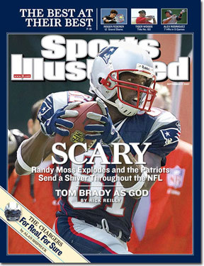 Patriots receiver Randy Moss The Patriots' record-setting receiver -- he finished the season with 23 touchdown receptions -- made the cover on Sept. 17, 2007.