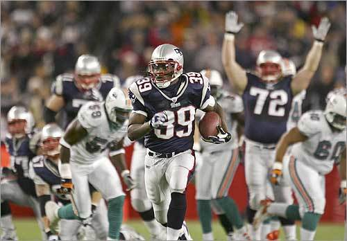 One step ahead After jumping to a 28-0 halftime lead, which featured three Brady TD passes (two to Moss), fans at Gillette awaited a record-setting second half for their QB-receiver combo. But for just the first time all season the Patriots were shut out in a half, leaving the potential records to be set in the Meadowlands. Maroney, with a 51-yard run helped by a Moss block, has a career-high 156 yards rushing on 14 carries. Game recap | Photos