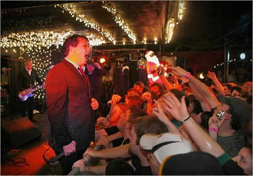 The Mighty Mighty Bosstones frontman Dicky Barrett sang to the crowd during a sold-out show at the Middle East in Cambridge, the first of five nights. The band hasn't performed together since 2003.