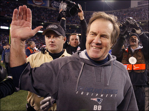 Bill Belichick cracked a smile after the Patriots beat the Giants to cap an undefeated 16-0 regular season.