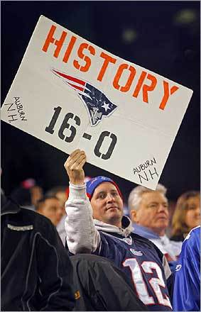 Patriots fans at Giants Stadium enjoyed themselves as they watched their team complete a perfect season.