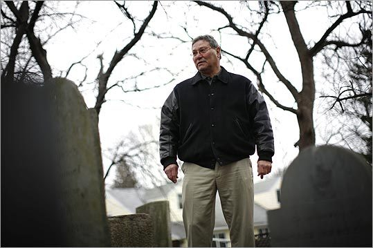 Revere official Nicholas Bua at the city's historic Rumney Marsh Burial Ground.