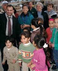 Visiting children in Bethlehem's Aida refugee camp.