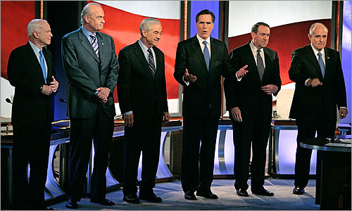 Left to right, John McCain, Fred Thompson, Ron Paul, Mitt Romney, Mike Huckabee, and Rudy Giuliani on stage before the debate.