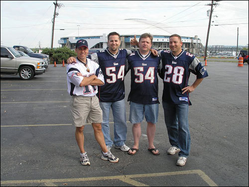 Michael Shedd of Fort Worth, Texas, writes: 'We all grew up in Vermont and have been Pats fans for life. This is the first time we've all been together in about 13 years. I live in Texas, Marty and Monty live in Las Vegas, and Wendell lives in New Hampshire.' They all got together for the Pats-Cowboys game earlier this year.
