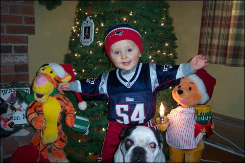 Ty of West Towsend is pumped up for the playoffs in his Tedy Bruschi jersey.