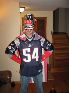 Kevin Casini of Connecticut is pumped for the Patriots' playoff run.