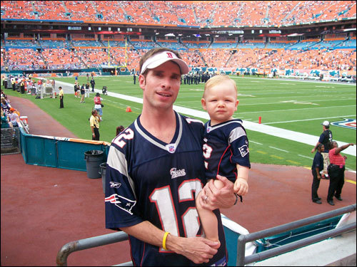 Marc Bonnet-Eymard of Cumberland, R.I., took 1-year-old Tristan to a Pats game at Dolphin Stadium, where they watched Randy Moss haul in two amazing catches.