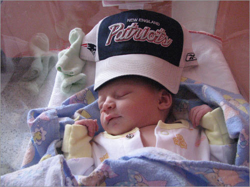 Laurence of Nicolet, Quebec, has been a Patriots fan since birth. Of course, that happened on Jan. 2, 2008!