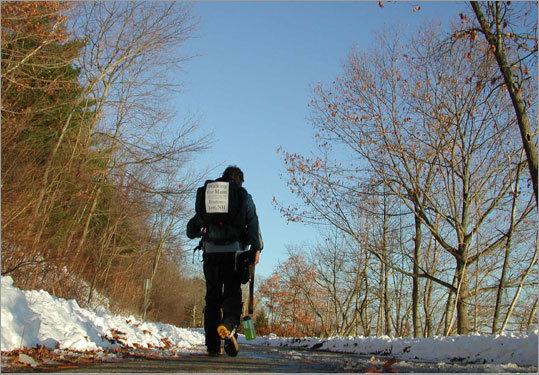 The note on my pack: 'Walking for Mom, Sara Gilsdorf 1940-1997, brain aneurysm survivor, Boston- Lee, N.H.'
