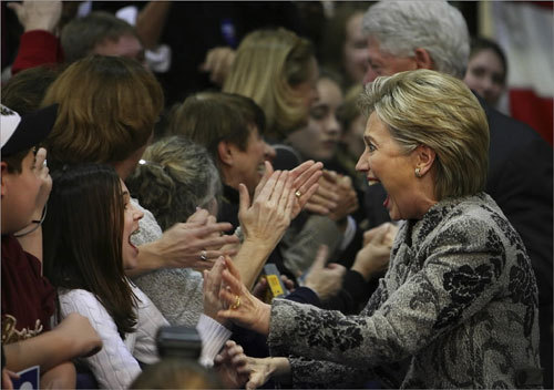 An elated Hillary Clinton celebrated her victory with students and supporters at Southern New Hampshire University in Manchester, N.H., on Jan. 8.