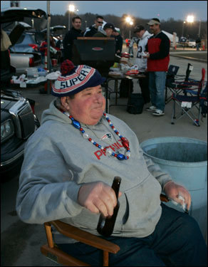Joe Viscardi, 71, of Walpole, sat in a Gillette Stadium parking lot before the game, he has been a season ticket holder since 1978.