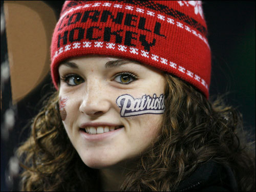 Patriots' fan Sarah McCaffery, of Taunton, awaited the start of the game.