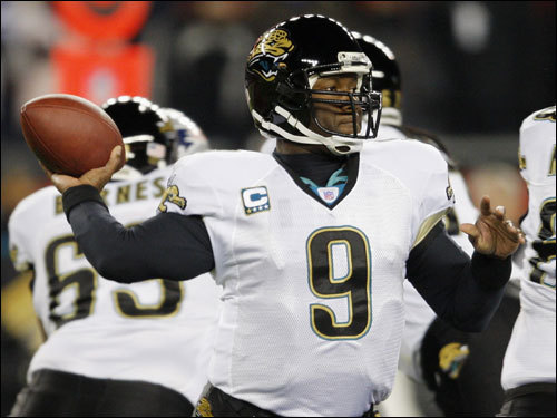 Jacksonville Jaguars quarterback David Garrard fired a pass in the first quarter.