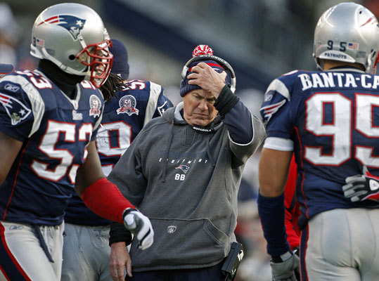 Jan. 12, 2010: Ravens 33, Patriots 14 Patriots head coach Bill Belichick did not look to happy on the sidelines late in the fourth quarter of the wild card playoff game at Gillette Stadium. The Baltimore Ravens scored 24 points in the first quarter and never looked back in trouncing the Patriots in Foxborough. It was Belichick's fourth playoff loss in New England in 18 postseason games.