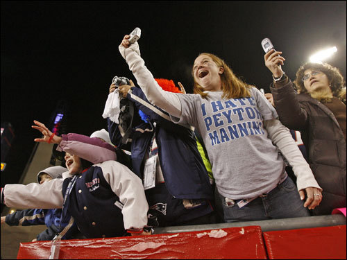 Patriots fans cheered their team after the victory.