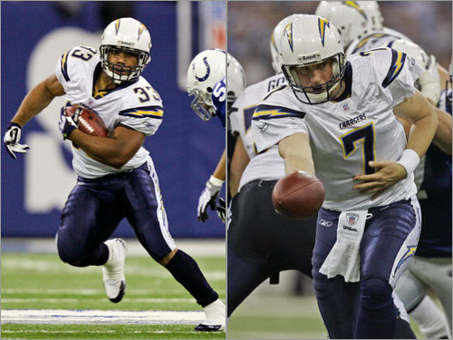As they proved yesterday, the Chargers' backups are gamers. Second-string tailback Michael Turner runs strong and has good balance. He's going to cash in and start for somebody next season. Quarterback Billy Volek is an experienced veteran with strong pre-snap recognition skills. He makes up for poor arm strength by making good decisions. Tight end Brandon Manumaleuna (that's Manu-ma-lee-oon-a to me and you) is a good blocker but has hands of stone.