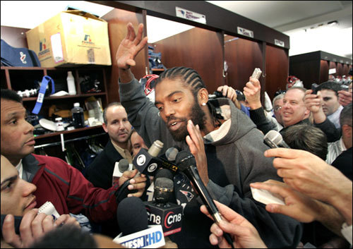 New England Patriots wide receiver Randy Moss responds to reporters questions about an incident that occurred in early January regarding a female 'friend's' allegations against Moss.