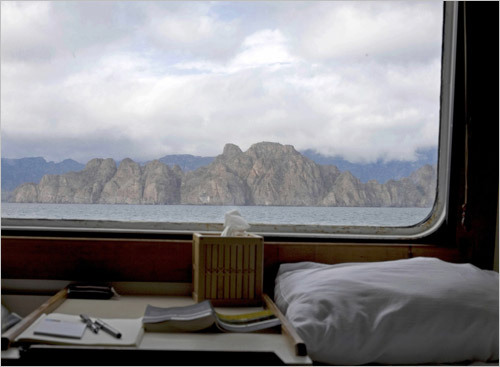 The view from a cabin on the 60-passenger Sea Bird. The Lindblad Expeditions journey goes through the Sea of Cortez, the long, narrow, dangerous, island-studded piece of water between the Baja Peninsula and mainland Mexico. STORY Sampling Baja PLAN Latin America travel guide