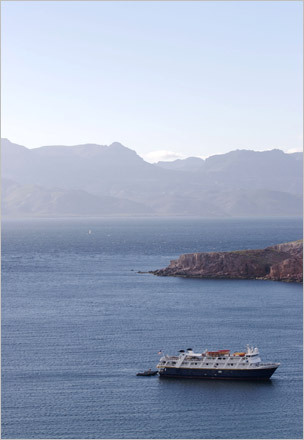 The Sea Bird, a 154-foot steel-hulled expedition ship built on Whidbey Island, Wash., in the early 1980s. Lindblad Expeditions has been leading trips around the world since 1979 and in Baja for more than 20 years. STORY Sampling Baja PLAN Latin America travel guide