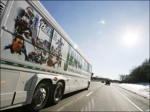 A Patriots fan bus traveled southbound on Route 128 toward Foxborough on gameday.