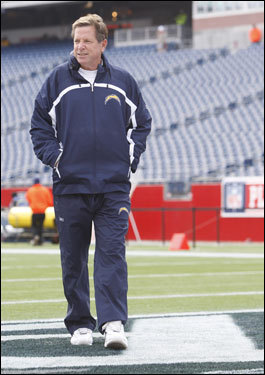 Chargers head coach Norv Turner walked the field before the game.