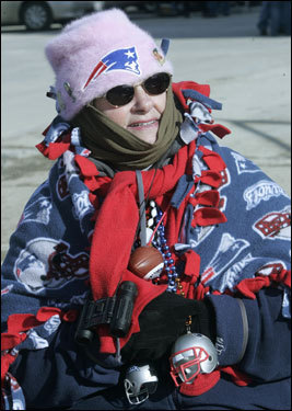 Isabel Neal, of Port Charlotte, Fla., has been a fan since 1960 when the Patriots played on Friday nights at Fenway Park.