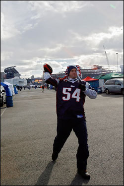 Patriots fan Derek Pszenny of Pinehurst, NC played catch outside of the stadium.