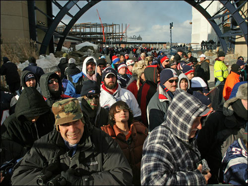 Fans waited for the Patriots to run out of the tunnel prior to the game.
