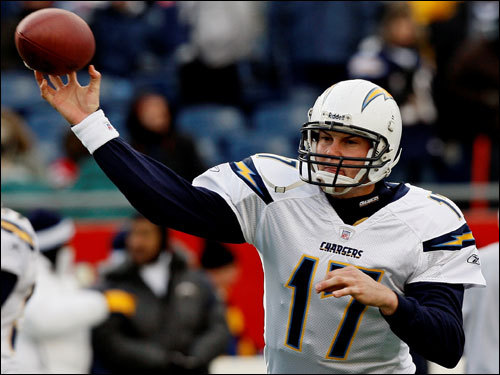 San Diego Chargers quarterback Philip Rivers warmed up on the field before the game.