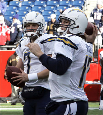 Chargers backup QB Billy Volek (left) warmed up next to starter Philip Rivers (right). Rivers was injured in last week's game against the Colts, but was slated to start.