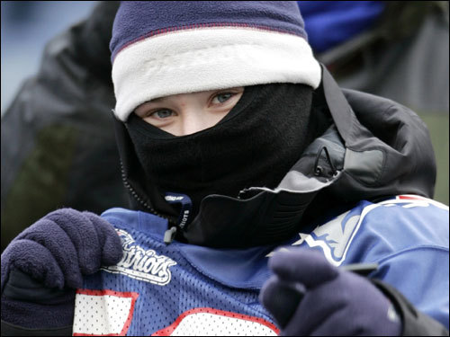 A young Patriots fan showed his team spirit in the stands prior to the game.