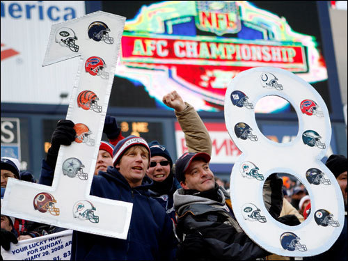 Patriots fans held up a sign that read '18-0', the mark the Pats are looking to achieve with a win in the AFC Championship Game.