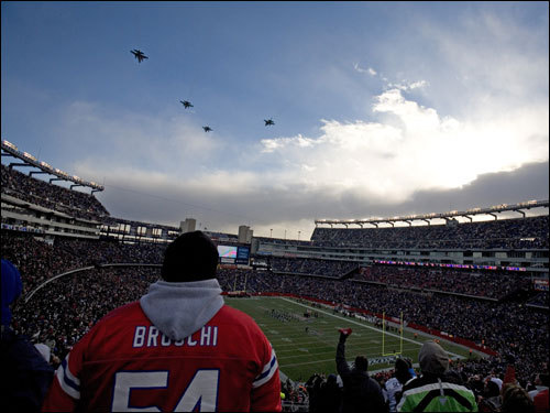 Jets flew over Gillette Stadium prior to kickoff of the AFC Championship game.
