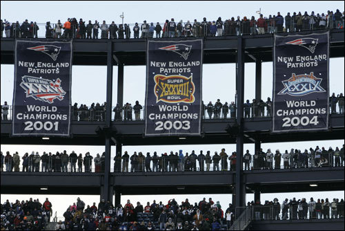 A shot of the Patriots three Superbowl banners at Gillette Stadium.
