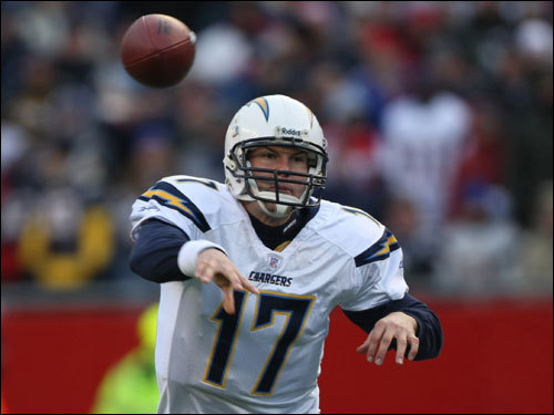 Philip Rivers fired a pass in the first quarter.