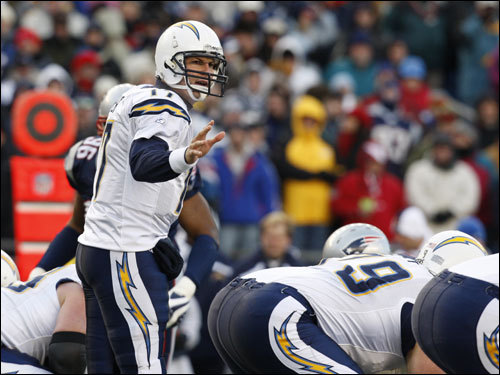 Philip Rivers motioned to the offense during the first half.
