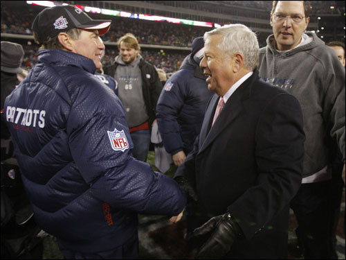 Bob Kraft (right) congratulated Bill Belichick (left) after the game.
