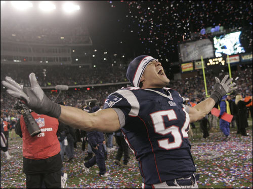 Tedy Bruschi yelled in celebration after the Patriots defeated the Chargers 21-12 to win the AFC Championship and a trip to Super Bowl XLII.