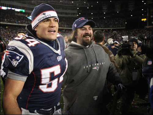 Tedy Bruschi celebrated on the field after the game.