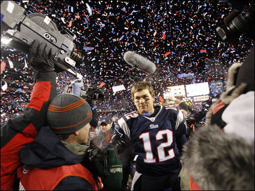 Tom Brady walked on the field after the game.