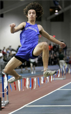 Amon Mohammadi of Stoneham competed in the long jump competition during the Division 3 high school track relays held on Sunday, Jan. 20. The events took place at the Reggie Lewis Center in Boston.